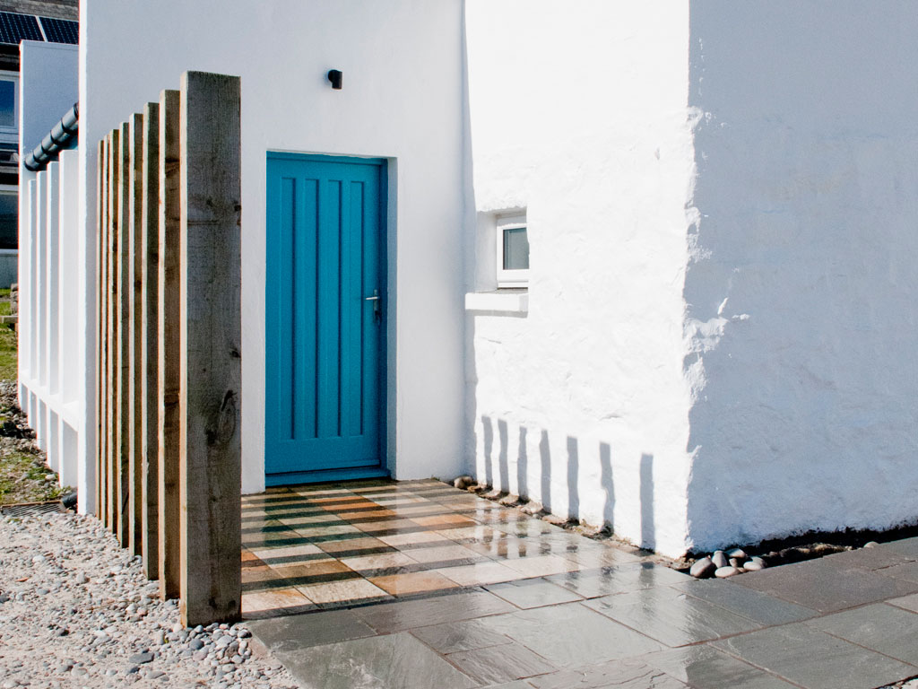 Door exterior, Blue Beyond Cottage, Tiree