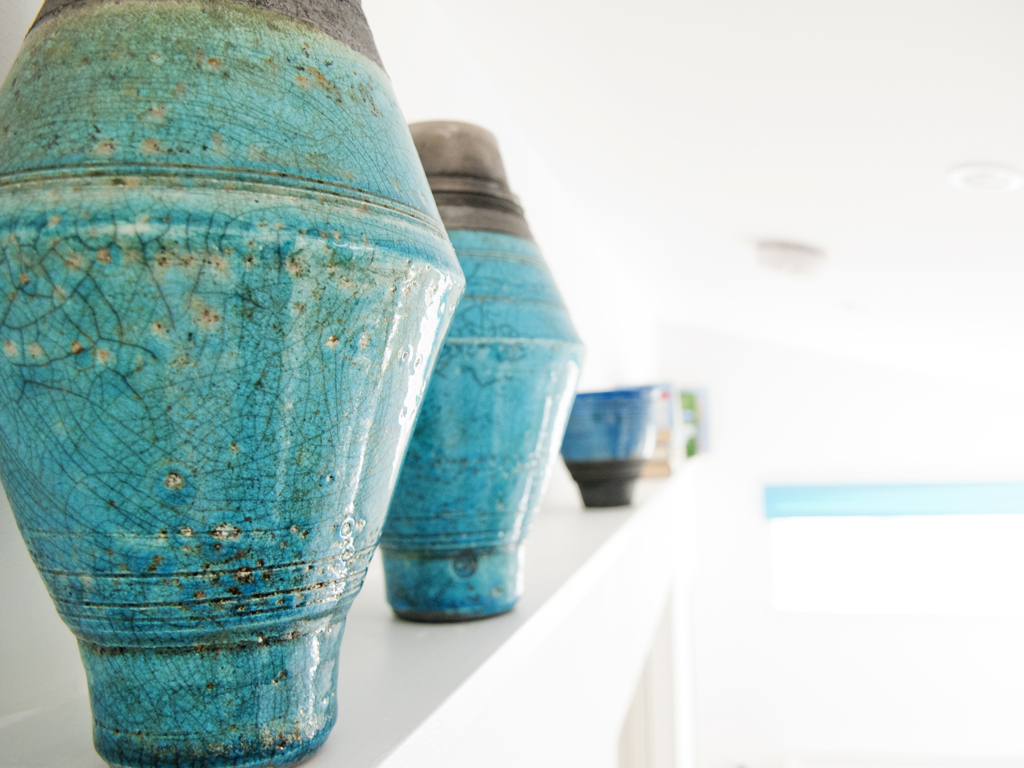 raku pots at Blue Beyond Cottage
